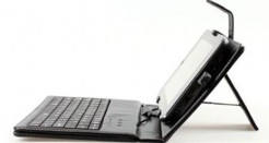7 Inch Tablet Stand with USB Keyboard – Black Leather